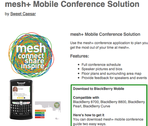 mesh conference mobile page screenshot