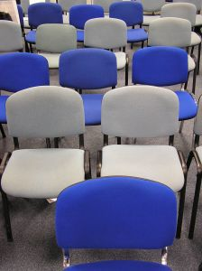 Empty conference room chairs