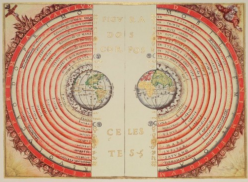 Illuminated illustration of the Ptolemaic geocentric conception of the Universe by Portuguese cosmographer and cartographer Bartolomeu Velho (?-1568)