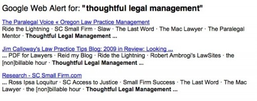 Google Alert for Thoughtful Legal Management