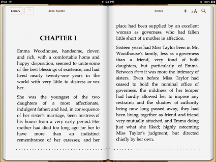 Page of Emma on iBooks