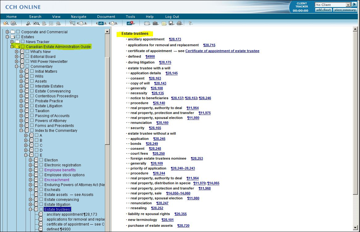 Screenshot Of Online Index From Cch Online's Canadian Estate Administration  Guide