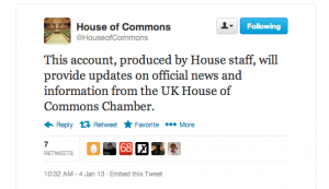 Tweet from UK House of Commons