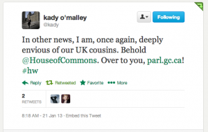 Twitter: Kady O'Malley on UK House of Commons twitter feed