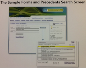 Sample Forms and Precedents Search Screen