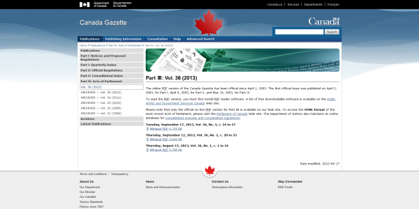 Canada Gazette – Part III- Vol. 36 (2013) 2014-01-17 12-08-22