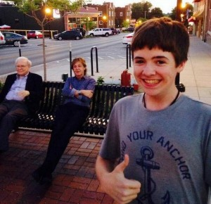 Tom White with Warren Buffett and Paul McCartney in Dundee, Nebraska (via Twitter)