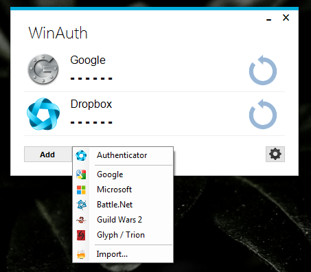 winauth-screencap-authenticator-menu