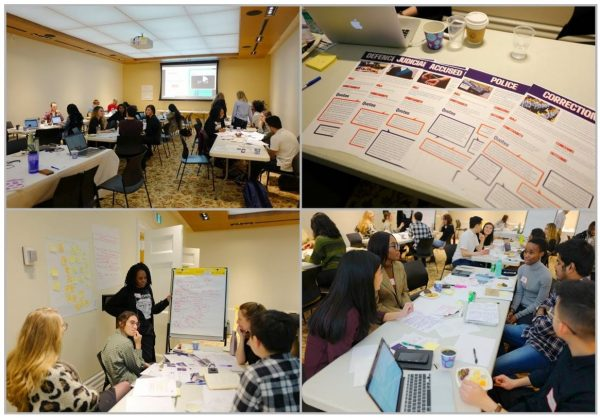 A collage of photographs documenting the February 1st Creative Design Challenge. The photos show: a room full of participants seated at large tables; printed posters and pamphlets created for participants; a diverse group of participants engaging in a lively discussion.