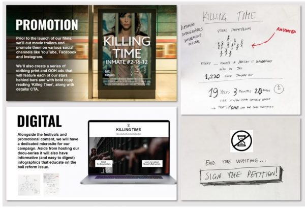 "A collage of four images documenting some of the concepts presented at the Creative Design Challenge. The four images are: 1. A mock-up of a movie poster showing a woman behind bars and the title ""Killing Time"" 2. A rough sketch of a data visualization showing the flow of people through the bail system 3.A mock-up of a website called ""Killing Time"" with a logo of an hourglass (commonly used by desktop computer programs when asking users to wait) 4. A sketch of a poster with the words ""End the Waiting - Sign the Petition"" and a logo of an hourglass with a strike through it."